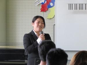 卒業生 健康スポーツコミュニケーション学科代表の内田朱音さん